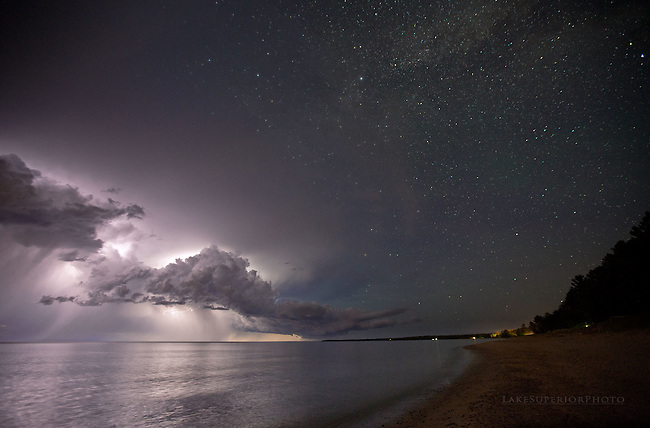 lightning and stars, Lake Superior