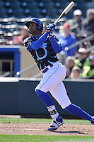 Omaha Storm Chasers first baseman Jose Martinez swings  against the Round Rock Express at Werner Park on April 12, 2016 in Omaha, Nebraska.  The Express won 6-4.  (Dennis Hubbard/Four Seam Images)