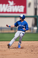 Toronto Blue Jays Will Robertson (9) running the bases during a Minor League Spring Training game against the Detroit Tigers on April 22, 2021 at Joker Marchant Stadium in Lakeland, Florida.  (Mike Janes/Four Seam Images)