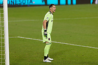 ST PAUL, MN - NOVEMBER 4: Bobby Shuttleworth #1 of Chicago Fire FC yells during a game between Chicago Fire and Minnesota United FC at Allianz Field on November 4, 2020 in St Paul, Minnesota.