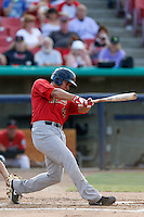David Peralta #40 of the Visalia Rawhide bats against the High Desert Mavericks at Stater Bros. Stadium on July 20, 2013 in Adelanto, California. High Desert defeated Visalia, 7-4. (Larry Goren/Four Seam Images)