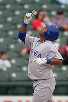 Iowa Cubs third baseman Luis Valbuena #27 after his grand slam during the Pacific Coast League baseball game against the Round Rock Express on April 15, 2012 at the Dell Diamond in Round Rock, Texas. The Express beat the Cubs 11-10 in 13 innings. (Andrew Woolley / Four Seam Images).
