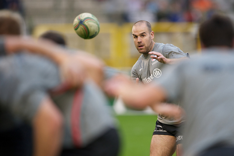 20121020 Copyright onEdition 2012©.Free for editorial use image, please credit: onEdition..Charlie Hodgson of Saracens warms up before the Heineken Cup Round 2 match between Saracens and Racing Metro 92 at the King Baudouin Stadium, Brussels on Saturday 20th October 2012 (Photo by Rob Munro)..For press contacts contact: Sam Feasey at brandRapport on M: +44 (0)7717 757114 E: SFeasey@brand-rapport.com..If you require a higher resolution image or you have any other onEdition photographic enquiries, please contact onEdition on 0845 900 2 900 or email info@onEdition.com.This image is copyright the onEdition 2012©..This image has been supplied by onEdition and must be credited onEdition. The author is asserting his full Moral rights in relation to the publication of this image. Rights for onward transmission of any image or file is not granted or implied. Changing or deleting Copyright information is illegal as specified in the Copyright, Design and Patents Act 1988. If you are in any way unsure of your right to publish this image please contact onEdition on 0845 900 2 900 or email info@onEdition.com