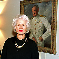 Mrs. John S. McCain, Jr. (Roberta), poses in front of a portrait of her late husband, United States Navy Admiral John S. McCain, Jr., Commander-in-Chief, Pacific Command (CINCPAC), in her apartment in Washington, DC on 18 February, 2000.  Her son is US Senator John S. McCain, III (Republican of Arizona). <br /> CAP/MPI/RS<br /> ©RS/MPI/Capital Pictures