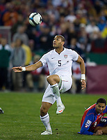 Oguchi Onyewu traps the ball during a 2-2 tie with Costa Rica to put the USA in first place of CONCACAF 2010 World Cup qualifying, at RFK Stadium, in Washington DC, Wednesday, October 14, 2009.