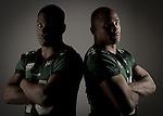 DENTON TX - MAY 6, 2005: Jamario Thomas #20 and Patrick Cobbs #34 running backs for North Texas Mean Green Football.
