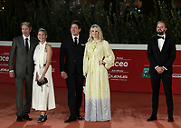 """From left: danish actors Mads Mikkelsen and Hanne Jacobsen, danish director Thomas Vinterberg and danish actor Magnus Millang pose on the red carpet for the screening of the film """"Druk"""" during the 15th Rome Film Festival (Festa del Cinema di Roma) at the Auditorium Parco della Musica in Rome on October 20, 2020.<br /> UPDATE IMAGES PRESS/Isabella Bonotto"""