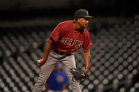 AZL D-backs relief pitcher Jhonny Valdez (25) during an Arizona League game against the AZL Cubs 1 on July 25, 2019 at Sloan Park in Mesa, Arizona. The AZL D-backs defeated the AZL Cubs 1 3-2. (Zachary Lucy/Four Seam Images)