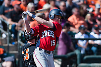 Gonzaga Bulldogs third baseman Ernie Yake (15) prepares for an at bat during a game against the Oregon State Beavers on February 16, 2019 at Surprise Stadium in Surprise, Arizona. Oregon State defeated Gonzaga 9-3. (Zachary Lucy/Four Seam Images)