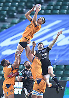 1st May 2021; Recreation Ground, Bath, Somerset, England; European Challenge Cup Rugby, Bath versus Montpellier; Florian Verhaeghe of Montpellier is lifted to catch the restart kick under pressure from Will Muir of Bath