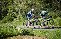 race leaders Jakob FUGLSANG (DEN/Astana) & Julian ALAPHILIPPE (FRA/Deceuninck-Quick Step) up the Keutenberg<br /> <br /> 54th Amstel Gold Race 2019 (1.UWT)<br /> One day race from Maastricht to Berg en Terblijt (NED/266km)<br /> <br /> ©kramon