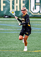 17 April 2021: UMBC Retriever Midfielder Rachel Walchuck, a Senior from Myersville, MD, in action against the University of Vermont Catamounts at Virtue Field in Burlington, Vermont. The Catamounts fell to the Retrievers 11-8 in the America East Women's Lacrosse matchup. Mandatory Credit: Ed Wolfstein Photo *** RAW (NEF) Image File Available ***