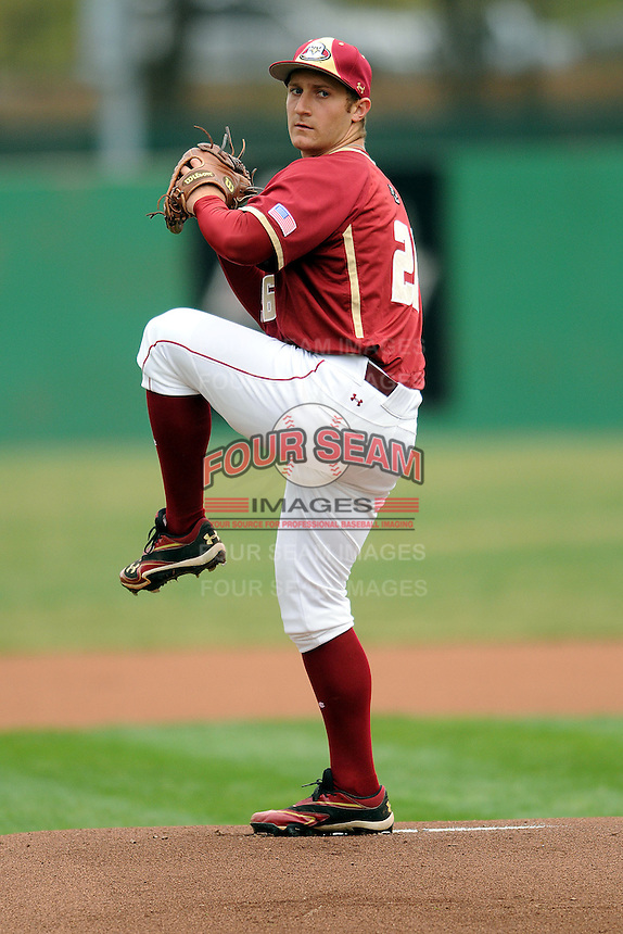 Boston College Eagles pitcher Hunter Gordon #26 during a game versus the Georgia Tech Yellow Jackets at Shea Field on the campus of Boston College in Chestnut Hill, Massachusetts on March 24, 2012.  (Ken Babbitt/Four Seam Images)