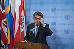Gustavo Meza-Cuadra, Permanent Representative of Peru to the United Nations and President of the Security Council for the month of April, briefs journalists on meeting in Syria