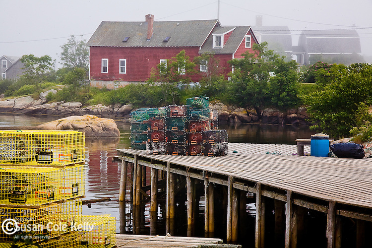 Pea soup fog veils lobster traps in Corea, a fishing village on the Schoodic National Scenic Byway - Corea village, Gouldsboro, Downeast ME, USA