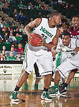 North Texas Mean Green forward Roger Franklin (32) in action during the game between the Troy Trojans and the University of North Texas Mean Green at the North Texas Coliseum,the Super Pit, in Denton, Texas. UNT defeats Troy 87 to 65.....
