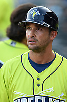 Manager Jose Leger (19) of the Columbia Fireflies in a game against the Rome Braves on Sunday, August 20, 2017, at Spirit Communications Park in Columbia, South Carolina. Rome won, 11-6 in 16 innings. (Tom Priddy/Four Seam Images)