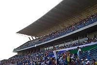 MONTERIA - COLOMBIA -01-02-2015: Fanaticos de Jaguares FC acompañaron a su equipo en el primer juego profesional contra Deportivo Cali por la fecha 1 de la Liga de Aguila I 2015 en el estadio Municipal de Monteria en la ciudad de Monteria. / Fans  of Jaguares FC accompanied their team during its first professional match against Deportivo Cali for date 1 of the Liga de Aguila I 2015 at Municipal de Monteria stadium in Monteria city. Photo: VizzorImage<br /> MÁXIMA RESOLUCIÓN POSIBLE