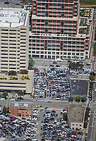 aerial photograph of many cars parked in the parking lots near Gap headquarters, 2 Folsom Street, an Francisco, California, 2008