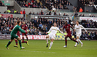 Saturday 2nd March 2013<br /> Pictured: (L-R) Rob Elliot, Angel Rangel, Michu.<br /> Re: Barclays Premier Leaguel, Swansea  v Newcastle at the Liberty Stadium in Swansea.