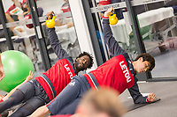 Wilfried Bony and Ki Sung-Yueng exercise in the gym during the Swansea City Training at The Fairwood Training Ground, Swansea, Wales, UK. Thursday 21 September 2017