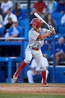 Clearwater Threshers Zachary Coppola (19) at bat during a game against the Dunedin Blue Jays on April 8, 2017 at Florida Auto Exchange Stadium in Dunedin, Florida.  Dunedin defeated Clearwater 12-6.  (Mike Janes/Four Seam Images)