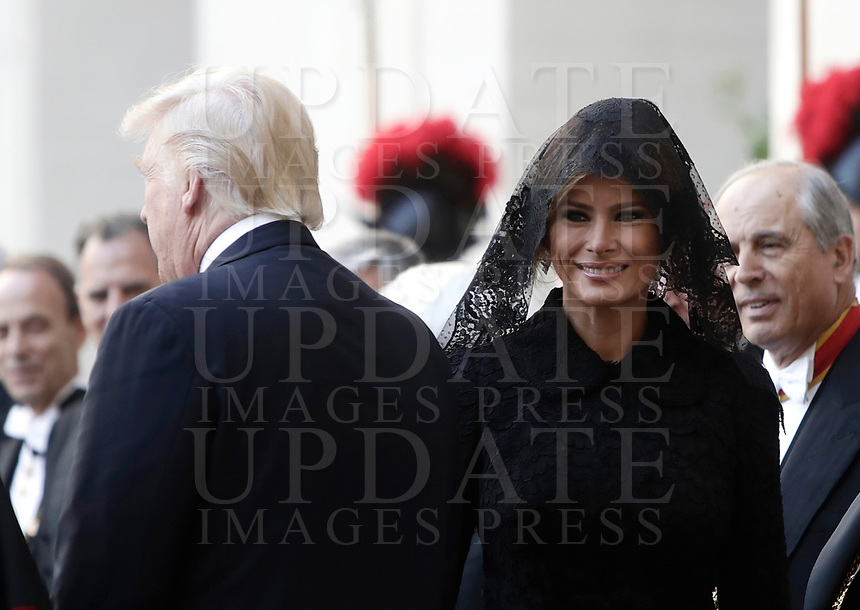 US President Donald Trump and his wife Melania arrive at the San Damaso courtyard for their private audience with Pope Francis, May 24, 2017.<br /> UPDATE IMAGES PRESS/Isabella Bonotto<br /> STRICTLY ONLY FOR EDITORIAL USE