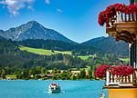 Deutschland, Bayern, Oberbayern, Tegernseer Tal, Stadt Tegernsee: Balkon mit Seeblick | Germany, Bavaria, Upper Bavaria, Tegernseer Valley, Tegernsee at Lake Tegern: balcony with sea view