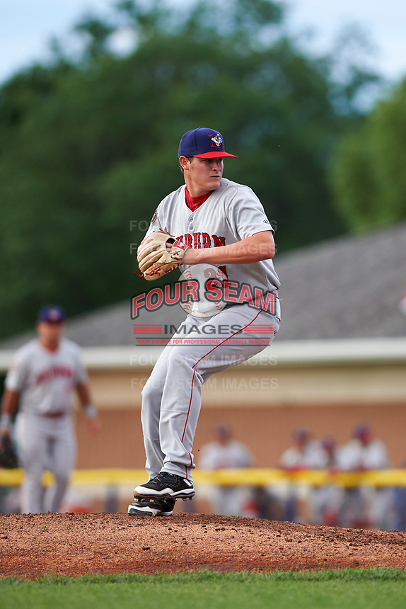 Auburn Doubledays starting pitcher Matthew DeRosier (21) delivers a pitch during a game against the Batavia Muckdogs on June 19, 2017 at Dwyer Stadium in Batavia, New York.  Batavia defeated Auburn 8-2 in both teams opening game of the season.  (Mike Janes/Four Seam Images)