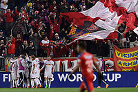 Harrison, NJ - Thursday March 01, 2018: Bradley Wright-Phillips celebrates scoring. The New York Red Bulls defeated C.D. Olimpia 2-0 (3-1 on aggregate) during a 2018 CONCACAF Champions League Round of 16 match at Red Bull Arena.