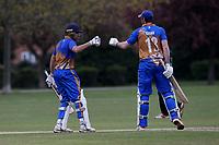 Kiran Kullar and James Evans of Upminster during Upminster CC (batting) vs Ilford CC, Hamro Foundation Essex League Cricket at Upminster Park on 8th May 2021
