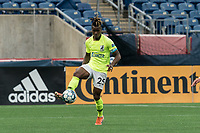 FOXBOROUGH, MA - MAY 12: Panzani Ferrety Sousa #25 of Union Omaha passes the ball during a game between Union Omaha and New England Revolution II at Gillette Stadium on May 12, 2021 in Foxborough, Massachusetts.