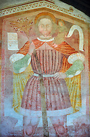Religious mural of St Christopher with Christ on his shoulders by Dionislo Baschenis, dated 1493, on the exterior of the Gothic Church of San Antonio Abate,  Pelugo, Province of Trento, Italy