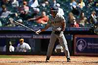Josh Holt Jr. (1) of the Missouri Tigers at bat against the Baylor Bears in game one of the 2020 Shriners Hospitals for Children College Classic at Minute Maid Park on February 28, 2020 in Houston, Texas. The Bears defeated the Tigers 4-2. (Brian Westerholt/Four Seam Images)