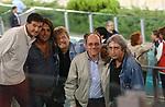 TEO MAMMUCARI CON ALBERTO MAROZZI, CARLO VERDONE E ENRICO VANZINA <br /> STADIO OLIMPICO ROMA 2002
