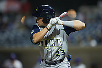 Darryl Collins (23) of the Columbia Fireflies at bat against the Kannapolis Cannon Ballers at Atrium Health Ballpark on May 18, 2021 in Kannapolis, North Carolina. (Brian Westerholt/Four Seam Images)