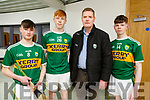 U16 and U17 Hurlers at the Currans GAA Complex. : L to r: Aidan O'Connor (Ballyduff), Mikey Clifford ( Abbeydorney),  Tim Murphy Murphy (Chairman Kerry County Comm) and JP O'Connor (Ballyduff).