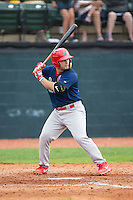 Chris Chinea (22) of the Johnson City Cardinals at bat against the Bristol Pirates at Boyce Cox Field on July 7, 2015 in Bristol, Virginia.  The Cardinals defeated the Pirates 4-1 in game one of a double-header. (Brian Westerholt/Four Seam Images)