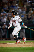 Tri-City ValleyCats third baseman Juan Pineda (10) follows through on a swing during a game against the Vermont Lake Monsters on June 16, 2018 at Joseph L. Bruno Stadium in Troy, New York.  Vermont defeated Tri-City 6-2.  (Mike Janes/Four Seam Images)
