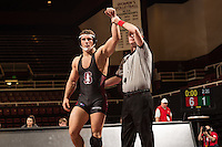 STANFORD, CA - January 18, 2015: Keaton Subjeck of the Stanford Cardinal wrestling team competes during a meet against Air Force Falcons at Maples Pavilion. Stanford won 22-13.