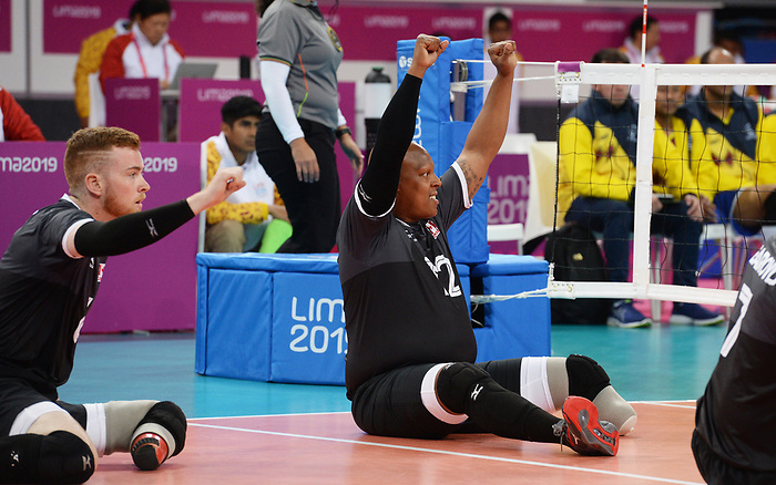 Jamoi Anderson and Bryce Foster, Lima 2019 - Sitting Volleyball // Volleyball assis.<br /> Canada competes in men's Sitting Volleyball // Canada participe au volleyball assis masculin. 24/08/2019.
