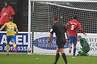 Altrincham FC hit the post during Dagenham & Redbridge vs Altrincham, Vanarama National League Football at the Chigwell Construction Stadium on 2nd October 2021