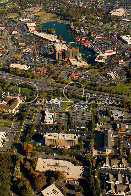 Aerial view of Charlotte's University City area, an edge city surrounding the University of North Carolina at Charlotte campus.