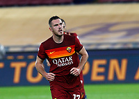 Roma s Jordan Veretout reacts after scoring on a penalty kick during the Serie A soccer match between Roma and Benevento at Rome's Olympic Stadium, October 18, 2020.<br /> UPDATE IMAGES PRESS/Riccardo De Luca