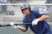 Yordi Calderon (19) of the Everett AquaSox practices bunting before a game against the Spokane Indians at Everett Memorial Stadium on July 25, 2015 in Everett, Washington. Spokane defeated Everett, 10-1. (Larry Goren/Four Seam Images)