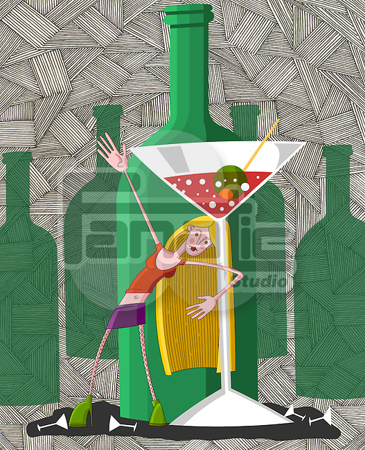 Drunk young woman in party with martini glass