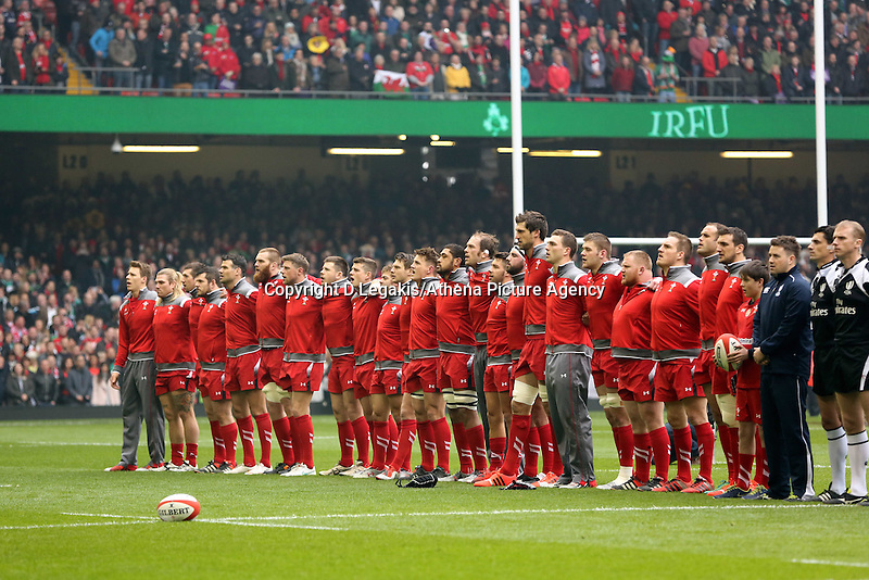 Pictured: The welsh team singing their national anthem Saturday 14 March 2015<br /> Re: RBS Six Nations, Wales v Ireland at the Millennium Stadium, Cardiff, south Wales, UK.