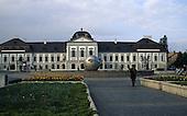 Bratislava, Slovakia; Grassalkovich Presidential Palace  (Grassalkovichov Palac) with modern spherical sculpture.