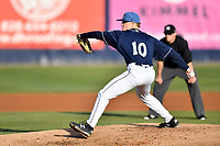 Asheville Tourists starting pitcher Shelby Lackey (10) delivers a pitch during a game against the Augusta GreenJackets at McCormick Field on April 6, 2019 in Asheville, North Carolina. The Tourists defeated the GreenJackets 6-3. (Tony Farlow/Four Seam Images)