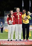 Renee Foessel and Jennifer Brown, Toronto 2015 - Para Athletics // Para-athlétisme.<br /> Renee Foessel and Jennifer Brown receive their Gold and Silver medals for the Women's Shot Put F20/37/38 // Renee Foessel et Jennifer Brown reçoivent leurs médailles d'or et d'argent pour le lancer du poids féminin F20/37/38. 12/08/2015.